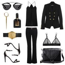 black outfit, outfit collage, black outfit collage, balmain jacket, flare jeans, gold accessories, dior sunglasses, oracle fox collage