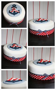 Anchor cake - i love the polka dots and stripes!