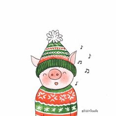 I'd like to dedicate this song to the last day of fall.🐷🎶🍂 Are you ready for winter? Pig Illustration, Christmas Illustration, Pig Drawing, Drawing For Kids, This Little Piggy, Little Pigs, Pig Crafts, Teacup Pigs, Hand Drawn Cards