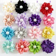 Aho159 ( 100 ), 15 colores de la cinta de satén flowersgirl Multilayers la flor con perlas de flores de tela hechos a mano bricolaje accesorios para el cabello(China (Mainland))