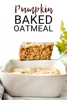 This Pumpkin Baked Oatmeal with a Maple Cinnamon Cream Cheese Glaze is the perfect healthy fall breakfast recipe. Loaded with protein fiber and nutrients it's gluten-free has no refined sugar and can be dairy-free & vegan-friendly! via JoyFoodSunshine Baked Pumpkin, Pumpkin Recipes, Fall Recipes, Holiday Recipes, Pumpkin Oatmeal, Oatmeal Diet, Oatmeal Bread, Thanksgiving Recipes, Pumpkin Spice