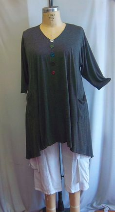 Coco and Juan Lagenlook Plus Size Top Gray Knit by COCOandJUAN, $35.00