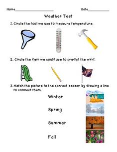 1st Grade Weather Assessment