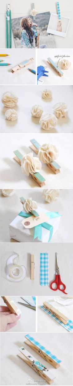 DIY Pretty Clothes Pin - how cute! Would probably put magnets on some for the refrigerator too. Would also make inexpensive house-warming/wedding/baby gifts.