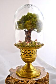 Tree terrarium, beautiful live moss terrarium- hand sculpted miniature tree handmade by uniqueleeart