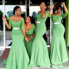 >> Click to Buy << African Style 2016 Cheap Mermaid Bridesmaid Dresses Aqua Green Bridesmaids Dresses Half Sleeves Cheap Maid of Honor Gowns #Affiliate