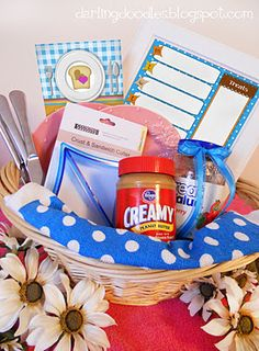 Peanut butter and Jelly gift basket. This site has a lot of great gift ideas and tags to go with them! Best Gift Baskets, Wedding Gift Baskets, Wedding Gifts, Wedding Stuff, Wedding Favors, Wedding Ideas, Craft Gifts, Diy Gifts, Cheap Gifts