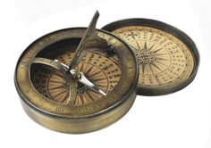 Compass with sundial. century Sundial and Compass at one. This compass has hand colored reproduction compass cards and it aged finish in hand-buffed duotone Polo Sul, Vintage Compass, Vintage Nautical, Nautical Compass, Compass Rose, Sundial, Compass Tattoo, Coastal Decor, Tropical Decor