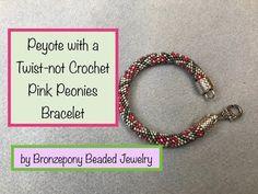 Peyote with a twist ~ Pink Peonies Bracelet ~ Seed Bead Video Tutorial Beading Patterns Free, Beading Tutorials, Beading Projects, Video Tutorials, Bead Jewellery, Beaded Jewelry, Beaded Bracelets, Beads Direct, Pink Peonies