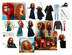 """""""Merida In Gryffindor"""" by shadow-948 ❤ liked on Polyvore featuring Merida, Disney, The Unbranded Brand and Converse"""