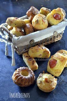 Recette du panier de bouchées salées à l'apéritif faites à base d'une pâte à madeleines garnie au chorizo, tomate et saumon - Kaderick en Ku...