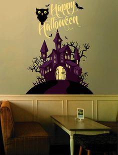 kcik1643 Full Color Wall decal greeting halloween coffee shop showcase