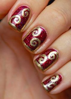 Deluxe And Fashionable Pink Glitter Nail Design Ideas With Golden Curves Motif - Nail Designs With Brown And Blue Polish