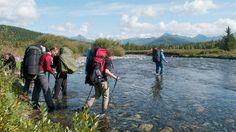 Backpackers crossing a river while trekking in Europe Kilimanjaro, Aktiv, Machu Picchu, Wonderful Places, Trekking, Backpacking, Royalty Free Stock Photos, Hiking, Europe