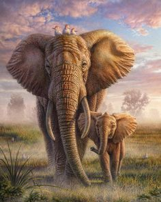 Family Stroll Canvas Print / Canvas Art by Phil Jaeger : Elephant Canvas Print featuring the mixed media Family Stroll by Phil Jaeger Elephant Family, Elephant Love, Elephant Sketch, Bull Elephant, Elephant Gifts, Image Elephant, Elephant Images, Tortoise House, Elephant Canvas