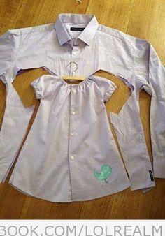 Men's Dress Shirt Into Cute Toddler Dress
