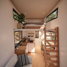 Tiny House Loft, Tiny House Builders, Tiny House Trailer, Tiny House Plans, Tiny Houses, Mezzanine Bedroom, Bedroom Loft, Space Saving Bathroom, Loft Plan