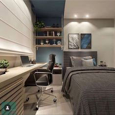 35 Ideas Home Office Pequeno Quartos Casal Bedroom Setup, Boys Bedroom Decor, Small Room Bedroom, Home Bedroom, Teenage Room Decor, Bedrooms, Small Space Interior Design, Home Office Design, Interior Design Living Room