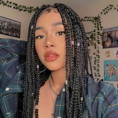 Big Box Braids Hairstyles, Braided Hairstyles For Black Women, African Braids Hairstyles, Baddie Hairstyles, Girl Hairstyles, Hairstyle Short, School Hairstyles, Easy Hairstyles, Black Girl Braids