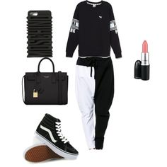 Rock that all black when I'm feeling Gothly?♠️?? by sneakerhead1500 on Polyvore featuring polyvore, fashion, style, Victoria's Secret, Vans, Yves Saint Laurent, Moschino and MAC Cosmetics