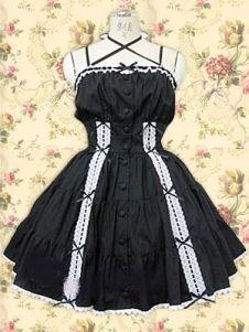 Cotton Black Short Sleeveless Cotton Gothic Lolita Dress