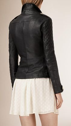 Black Diamond Quilt Detail Leather Biker Jacket - Image 3