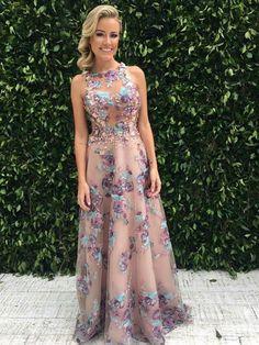 vestido de festa floral bordado