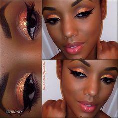 Glitter makeup look by Ellarie using Motives gel eyeliner in Little Black Dress