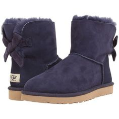 UGG Mini Bailey Bow Corduroy Women's Boots featuring polyvore fashion shoes boots ankle boots blue suede heel boots blue bootie bow boots short boots bootie shoes