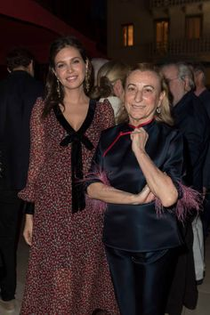 Dasha Zhukova and Mucia Prada attend the opening of Damien Hirst 'Treasures From The Wreck Of The Unbelievable' new exhibition on April 8 2017 in Venice, Italy