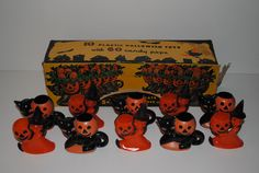 Very Rare Rosbro E Rosen Vintage Halloween Plastic Candy Container Box Witch Cat