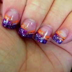 Tiger stripe nail art perfect for tournament time neat tiger stripe nail design orange and purple clemson google prinsesfo Choice Image