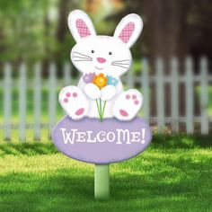 Wooden Bunny Lawn Sign 22in