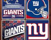Set of 4 New York Giants football NFL ceramic tile coasters ETSY