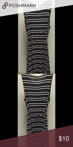 Motherhood Maternity sleeveless swing dress w/ tie Black and white stripe swing dress with a tie waist so you can feel tailored throughout pregnancy. This is in good used condition from Motherhood Maternity. Hits around knees. Wore to work with cardigan and casually with lots of compliments. Note size of armholes is large so I usually work with cardigan or a bralette/tank underneath. Smoke free home. Motherhood Maternity Dresses Midi