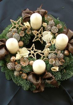 vendulavirág: adventi koszorú - capuccinó Homemade Christmas, Diy Christmas Gifts, Rustic Christmas, Christmas Home, Christmas Advent Wreath, Xmas Wreaths, Christmas Centerpieces, Xmas Decorations, Christmas In England