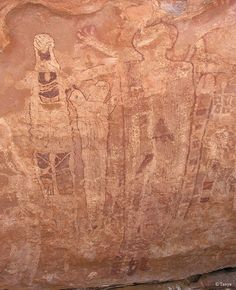 "Shaman's Gallery in the Grand Canyon, Arizona - photo by Tanya, via Zion National Park; ""Some of the [multi-colored] images are life sized, many are painted in layers and all are excitingly elaborate. The paintings were discovered ... in 1986"" by Gordon Smith."