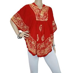 Red Mojeska Batik Embroidered VNeck Batwing Poncho Blouse ** See this great product. Batik Dress, Bat Wings, Kimono Top, Button Down Shirt, V Neck, Blouse, Red, Stuff To Buy, Tops