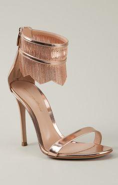 Rose gold fringe heels / Gianvito Rossi