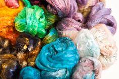 Vibrant died silk fibres by artist Karen Head. Visit http://www.karenhead.co.uk/