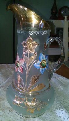 Water pitcher glass Czech hand painted by Vintagepetalpushers