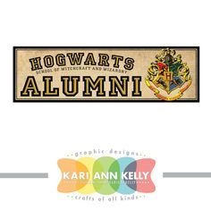 Hogwarts School of Witchcraft and Wizardry Alumni.... Harry Potter bumper sticker decal.... on Etsy, $5.00