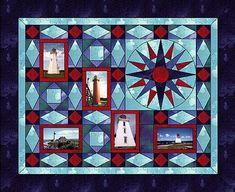 Patty Anderson uses Electric Quilt to bring photos to her quilts. This lighthouse quilt includes a Mariner's Compass and Storm-at-Sea blocks.