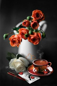 Splash of Colour Good Morning Coffee, Coffee Break, Coffee Cafe, Coffee Drinks, Love Wallpapers Romantic, Love Rose, I Love Coffee, Moscow Mule Mugs, Color Splash