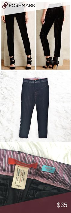 """Anthropologie Cartonnier velvet ankle pants Black Beverly skinny ankle pants with subtle textured vertical stripes, size 6 from Cartonnier (Anthropologie). Excellent condition. Flat measurements are waist 16"""", hips 18"""", front rise 9"""", inseam 28"""", length 36.5"""". Anthropologie Pants Ankle & Cropped"""