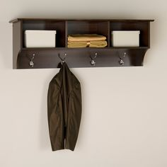 Prepac Fremont Espresso Entryway Cubbie Shelf and Coat Rack - Enter, style and versatility. The Fremont Entryway Shelf offers practical, everyday storage and a simple yet sophisticated look. Made of highl...