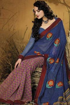 Designer Casual Printed Saree; Light Sapphire Blue and Dark Persian Pink Faux Georgette Casual and Party Printed Saree