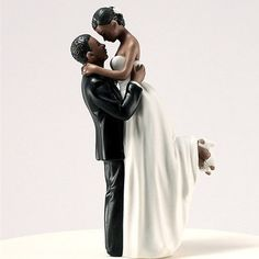 True Romance African American Couple Wedding Cake Topper