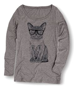 Look at this #zulilyfind! Sharp Wit Athletic Heather Glasses Cat Long-Sleeve Tee by Sharp Wit #zulilyfinds