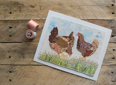 3 chickens giclee print